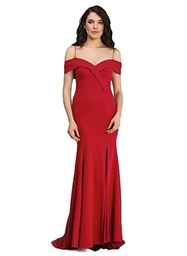 Pierre Cardin Askılı Düşük Omuz Uzun Balık Abiye Elbise Kırmızı